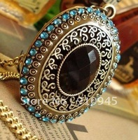 Free Shipping Fashions Antique brozens plated with Black stone Oval Shape Necklace