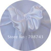 Free shipping /white  blue satin chair cover sash /satin sash