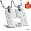 Free Shipping ~  316L Stainless Steel Couple Lover Pendant Necklace, Fashion Jewelry 2012 best love gift