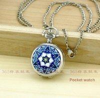 Silver Blue Flower Quartz Pocket Watch Pendant Chain Necklace New P136 5pcs/lot
