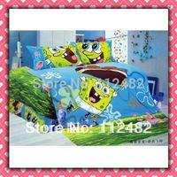 Cartoon Cotton children 3pcs Blue Bedding Set Spongebob Kid Bedding Free Shipping
