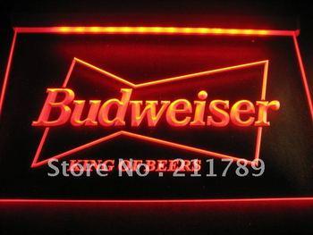 w0406Budweiser King Beer Bar Pub Club Neon Light Sign