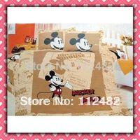Cartoon Cotton children 3pcs Bedding Set Mickey Mouse Kid Bedding Free Shipping
