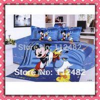 Cartoon Cotton Blue children 3pcs Bedding Set Mickey Mouse Kid Bedding Free Shipping
