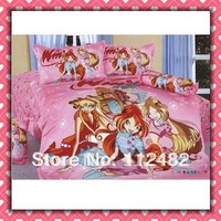 Cartoon Cotton children 3pcs Bedding Set Winx Kid Bedding Free Shipping