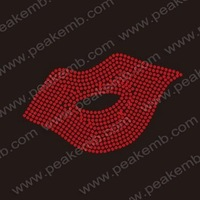 Wholesale 30pcs/Lot Free Shipping Custom Design Sexy Red Lips Rhinestone Transfers Hotfix Flat Back Rhinestone