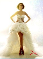 White Sweetheart  Wedding Dresses Bride Clothes Prom Gown Trailing Crepe Custom Made Different Style Size:2_24