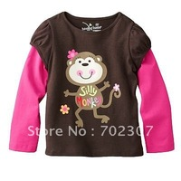 New style! T-shirt / t shirt  girls silly monkey 6pcs/lot   RC-84
