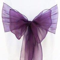 Free shipping /eggplant organza sash for wedding