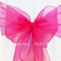 Free shipping /fushia  organza sash for wedding