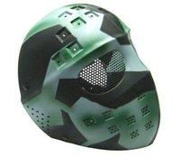 Airsoft Hockey Eye Mesh Hard Plastic Full Face Cover Mask Green Mixed Color free ship