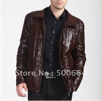 Free shipping 2012 HOT SELL winter the man stand collar thickened middle-aged sheep leather coat, men feather jacket AW234
