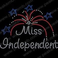 Wholesale 30pcs/Lot Free Shipping Custom Design Miss Independent Rhinestone Transfers Hotfix Flatback Rhinestone