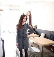 Women's Fashion Work  Gray O-Neck Solid Above Knee Long Sleeve Straight Dress - 15909S01