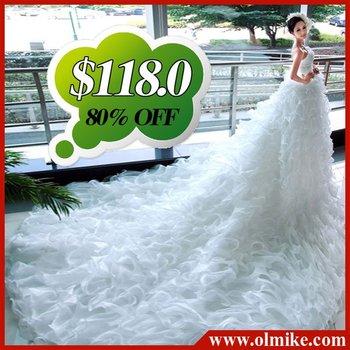 free shipping Wholesale 2012 latest designer fashion Princess luxury lace dress flowers trailing royal bride wedding dresses