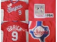 Free Shipping-M&N Texas Rangers 1984 Conan O'Brien 9# Red Throwback Baseball Jersey size:48~56+Mix Order
