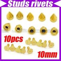 (10pcs/lot)10mm DIY Rivet Stud Spike Silver Spots Punk Dressing Clothes Shoes Leathercraft Parts #2193
