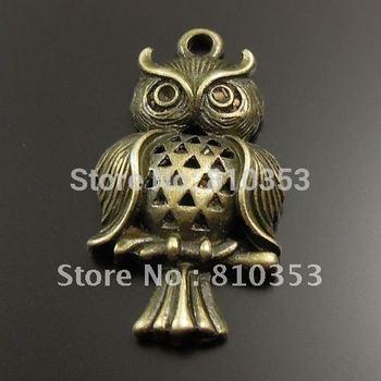Antiqued Bronze Tone Owl Shaped Zinc Alloy Pendants 27*17*5 mm 15 PCS-32017