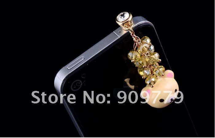 Free shipping!!Customized high quality Apply to ipad accessories cute Bear channeling beads cell phone iphone anti dust plug cap(China (Mainland))