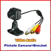 Mini Wired CCTV Security Pinhole Hidden Pinhole Camera Color Video Audio Bracket Indoor Camera