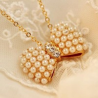 Fashion Gold Plated Pearl BIjou Bowknot Necklace 3pcs/Lot Z-T4002 Free Shipping