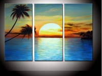 hand-painted Coconut island sun  Wall Decor Modern Landscape Oil Painting canvas 10x20inch 3p