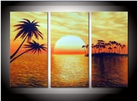 hand-painted The Islands round sun Wall Decor Modern Landscape Oil Painting on canvas 10x20inch 3p
