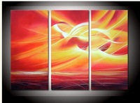 hand-painted The Red sun Wall Decor Modern Landscape Oil Painting on canvas 10x20inch 3p