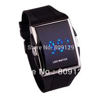 Hot Square Stainless Steel Men's Digital Electronic LED Watch blue Light For Men (Black)