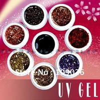 NAIL ART 8 MIX WARM COLOURS ACRYLIC GLITTER UV GEL 5ml Free shipping