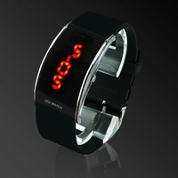 Unisex Digital Electronic Red LED Watch Red Light Rubber Strap For Men & Women (black)