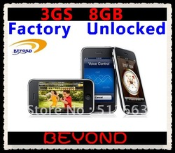 100% Factory Unlocked original 3GS 8GB mobile phone WIFI GPS 3.2MP in sealed box free shipping(China (Mainland))