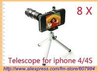 Retail 2012 the best gift toy 8*Zoom Mobile Phone Optical Telescope Camera Lens Mini Tripod Stand For iPhone 4/4s +free shipping