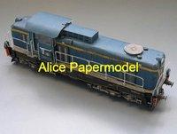 [Alice papermodel] 1:87 ho scale blue  train railway locomotive car models