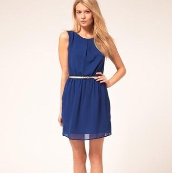2012 fashion navy blue sleeveless chiffon grace with brown