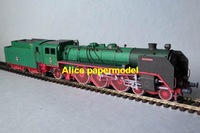 [Alice papermodel] 1:87 ho scale green  train railway locomotive car models