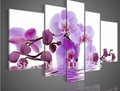 hand-painted oil wall art purple flowers modern abstract landscape home decorate Framed oil painting on canvas 5pcs per set