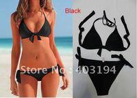 Hot!! Ladies Brand Sexy VS Triangle Halter Top Bikini Swimwear Brazilian Bottom Beachwear Black S M L