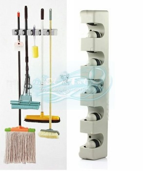 Wholesale 5 Position Kitchen Storage Mop Broom Organizer Holder Tool Plastic Wall Mounted