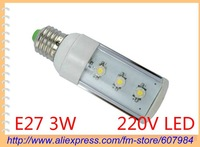 Wholesale 2012 3 LED 3W E27 AC110-240V Hight Power Energy Saving Lights Lamp Bulb LED horizontal inserted lights +free shipping