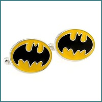 High-Material Men's fashion black batman design Enamel Cufflinks, Free Shipping