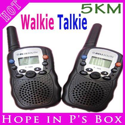 free shipping Mini Auto Multi-Channels Hand Held 2 Two Way Radio Walkie Talkie 3 Mile 5KM(China (Mainland))