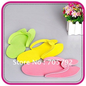 Free Shipping 48 Pairs/Lot Multi-Colors Disposable Pedicure Foam Slippers Flip Flop Thong Beauty For Nail Art Salon  Wholesale