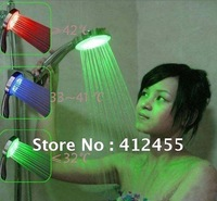 Free shipping 3 Colors temperature automatic sensor controlled LED Bathroom Shower