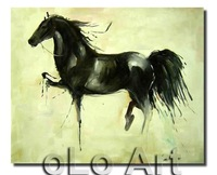 Wild Animal Horse Hand Painted Oil Painting On Canvas Abstract Modern Wall Decor Art oLo PD012