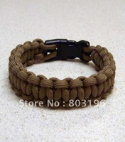Free Shipping 5PCS Paracord Survival Bracelets with Plastic Buckle Packed in OPP Bag 23cm 20 Colors