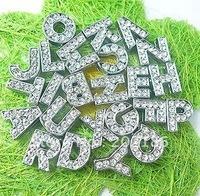 130pcs  10mm   full rhinestone  letters DIY letters fit  10mm pet collar/wristband
