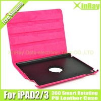 Free Shipping,NEW HOT ,360 Smart Cover PU Leather Case Rotating Stand for Apple iPad 2 iPad 3,Pink