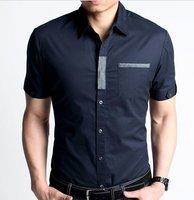 Wholesale mens trendy chic collarband adornment short sleeve shirt,mens fashion slim shirts,free shipping by china post,DMC082