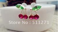 Free Shipping Hot Trendy Fashion Art Jewelry Purple Cherry Alloy Earrings Eardrop